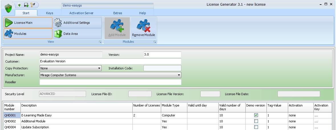 Licence Generator - Start Screen