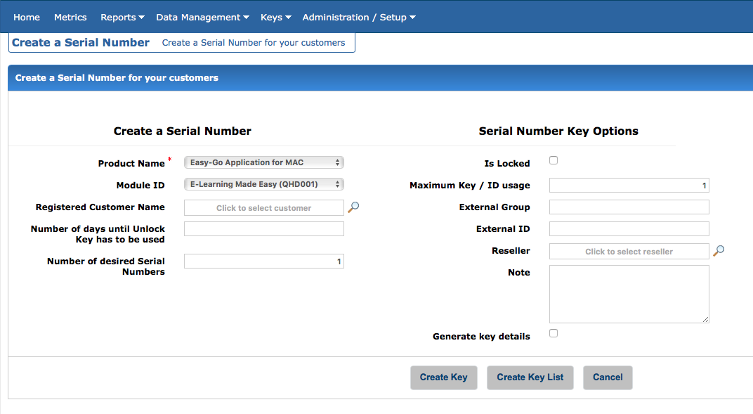 Create a Serial Number