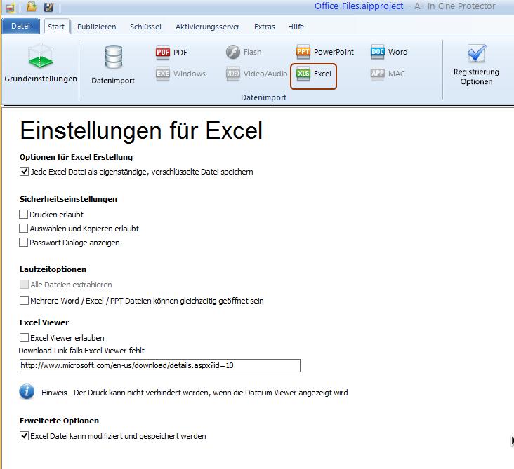 Excel Datei - Schutz Optionen